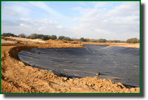 Geomembrane plastic lake liner installed