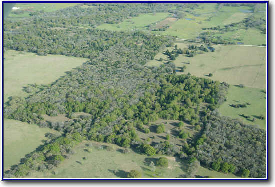 Aerial view of Central Texas rural retreat project pre-construction