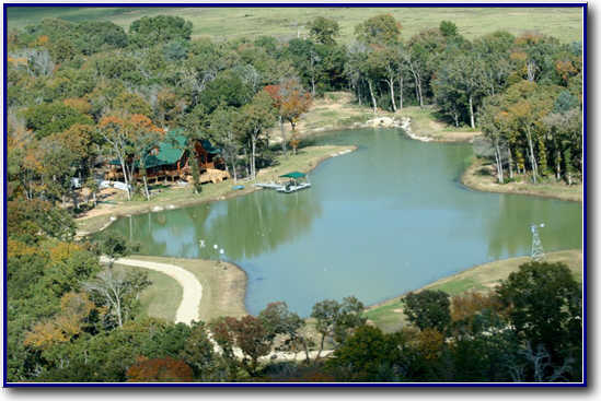 aerial view Rural Central Texas country lake retreat completed project