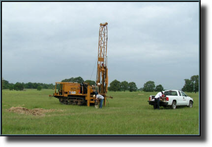 Core drilling machine for crucial soil tests near Palestine, TX  - Spring 2008